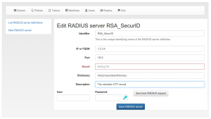 "Centrally defined RADIUS server ""RSA SecurID"""