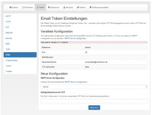 Die wesentlich vereinfachte Konfiguration der Email-Token.