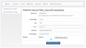 Zentral definierte RADIUS-Server